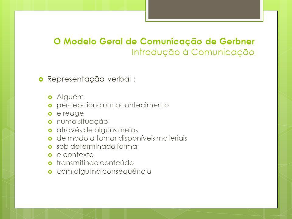 O Modelo Geral de Comunicação de Gerbner Introdução à Comunicação Dimensão horizontal: O acontecimento A é percebido por M ; A percepção de A é representada por A1 ; A relação de A e A1 envolve uma selecção.