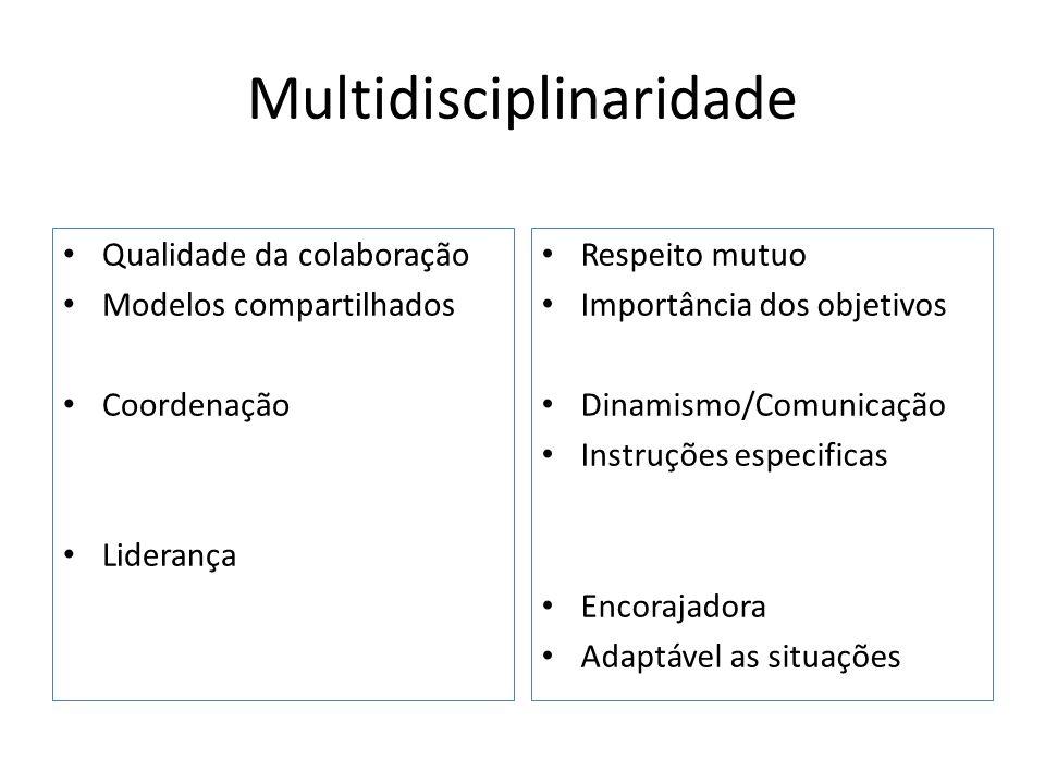 Multidisciplinaridade Qualidade da colaboração Modelos compartilhados Coordenação Liderança Respeito mutuo Importância dos objetivos Dinamismo/Comunic