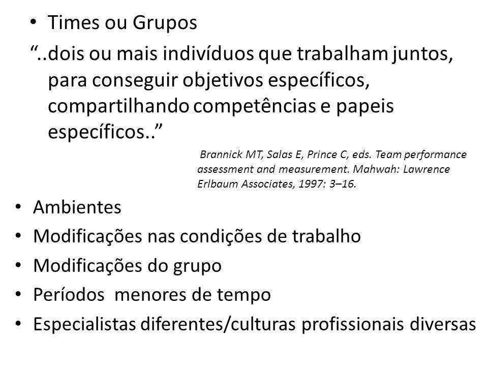 Times ou Grupos..dois ou mais indivíduos que trabalham juntos, para conseguir objetivos específicos, compartilhando competências e papeis específicos.