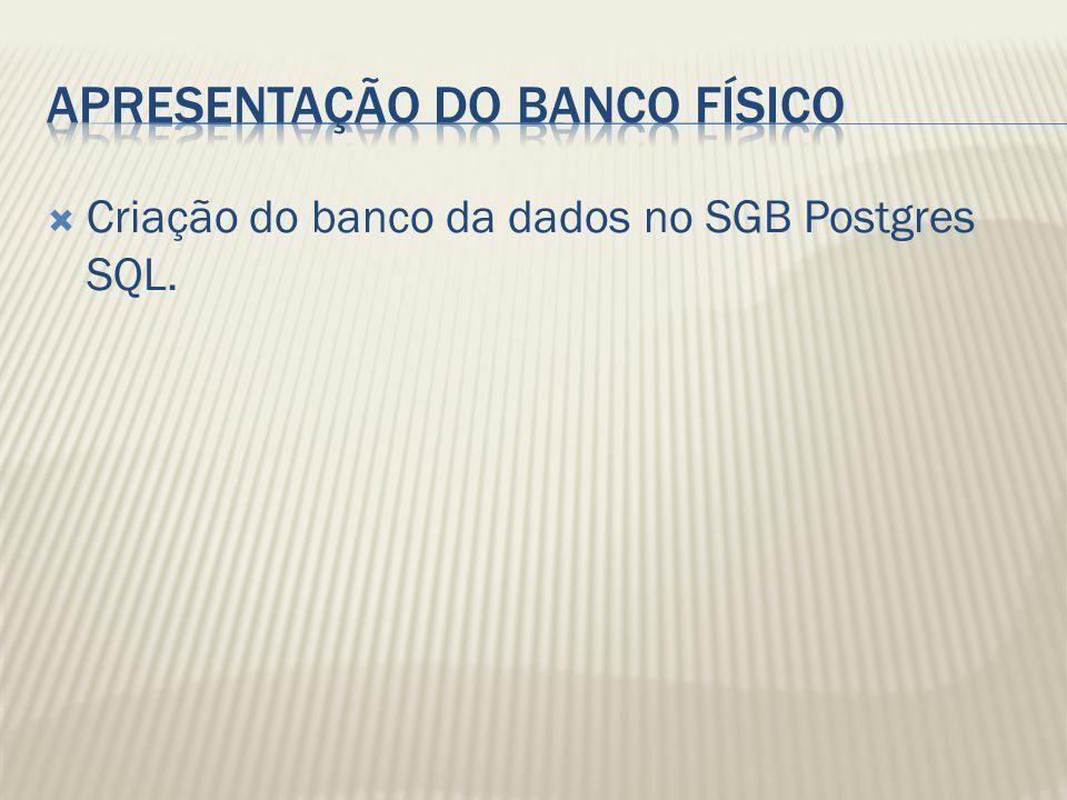 Criação do banco da dados no SGB Postgres SQL.