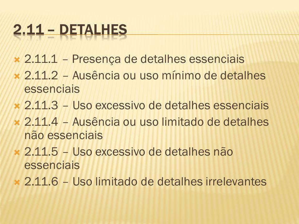 2.11.1 – Presença de detalhes essenciais 2.11.2 – Ausência ou uso mínimo de detalhes essenciais 2.11.3 – Uso excessivo de detalhes essenciais 2.11.4 –