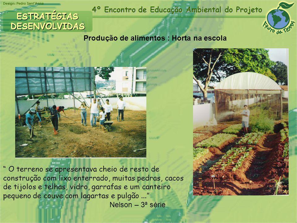 Design: Pedro SantAnna 4º Encontro de Educação Ambiental do Projeto ESTRATÉGIASDESENVOLVIDAS Produção de alimentos : Horta na escola O terreno se apre