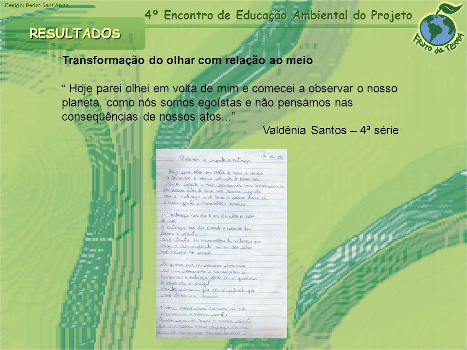 Design: Pedro SantAnna 4º Encontro de Educação Ambiental do Projeto RESULTADOS Transformação do olhar com relação ao meio Hoje parei olhei em volta de