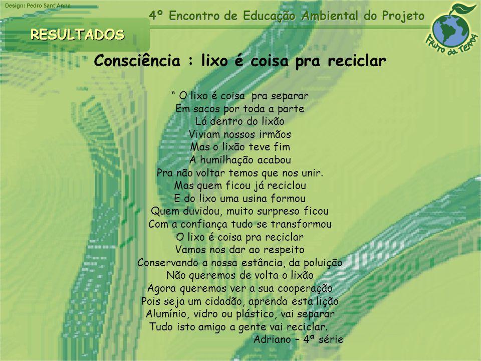Design: Pedro SantAnna 4º Encontro de Educação Ambiental do Projeto RESULTADOS Consciência : lixo é coisa pra reciclar O lixo é coisa pra separar Em s