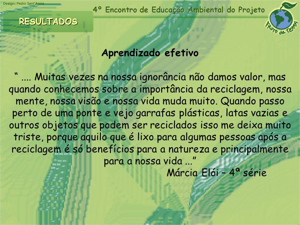 Design: Pedro SantAnna 4º Encontro de Educação Ambiental do Projeto Aprendizado efetivo.... Muitas vezes na nossa ignorância não damos valor, mas quan