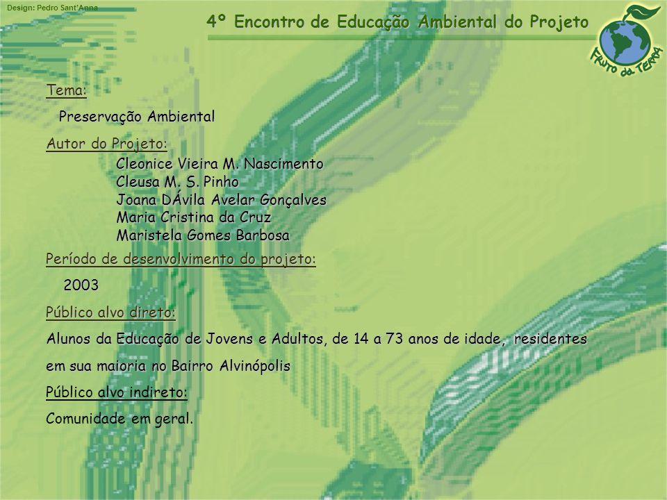 Design: Pedro SantAnna 4º Encontro de Educação Ambiental do Projeto Tema: Preservação Ambiental Autor do Projeto: Cleonice Vieira M. Nascimento Cleusa