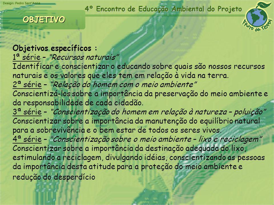 Design: Pedro SantAnna 4º Encontro de Educação Ambiental do Projeto OBJETIVO Objetivos específicos : 1ª série – Recursos naturais Identificar e consci