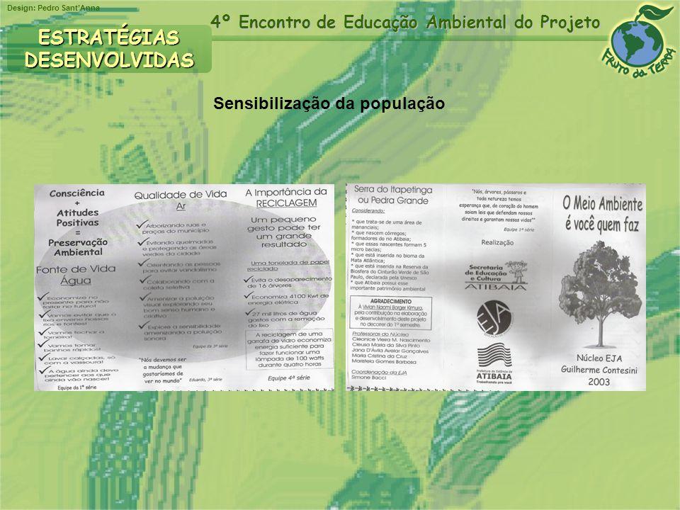 Design: Pedro SantAnna 4º Encontro de Educação Ambiental do Projeto ESTRATÉGIASDESENVOLVIDAS Estímulo à pesquisa