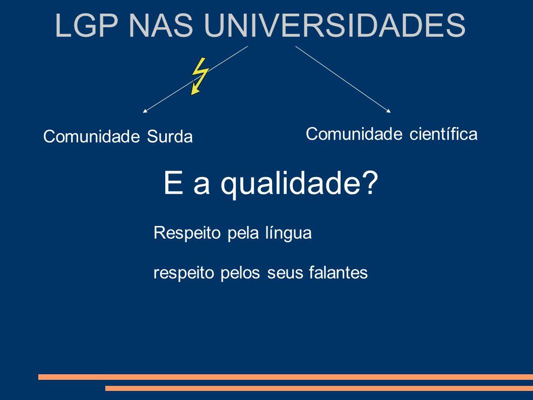 LGP NAS UNIVERSIDADES Comunidade Surda Comunidade científica E a qualidade? Respeito pela língua respeito pelos seus falantes