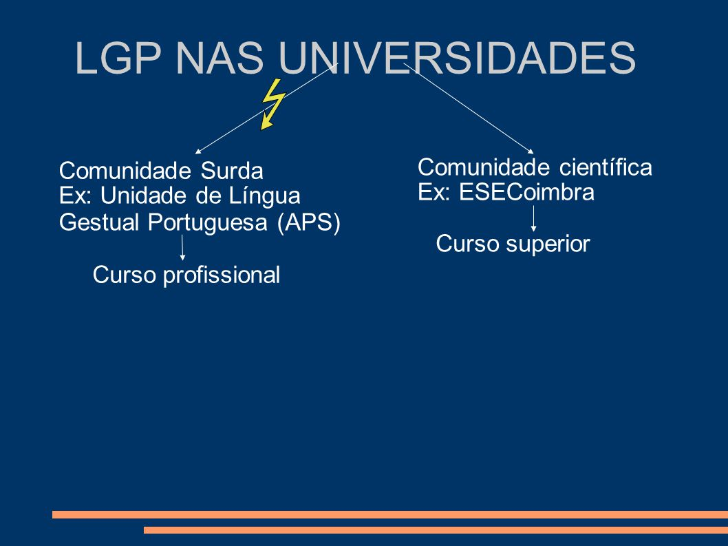 LGP NAS UNIVERSIDADES Comunidade Surda Comunidade científica Ex: Unidade de Língua Gestual Portuguesa (APS) Ex: ESECoimbra Curso superior Curso profis