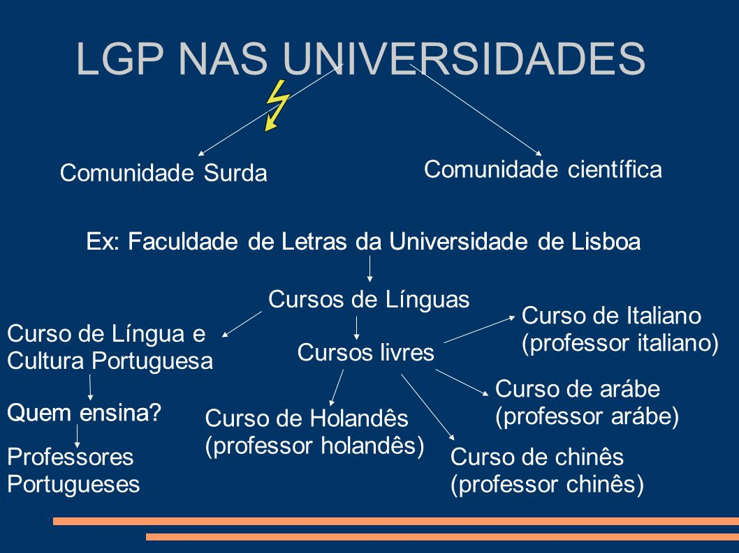LGP NAS UNIVERSIDADES Comunidade Surda Comunidade científica Ex: Faculdade de Letras da Universidade de Lisboa Cursos de Línguas Curso de Língua e Cul