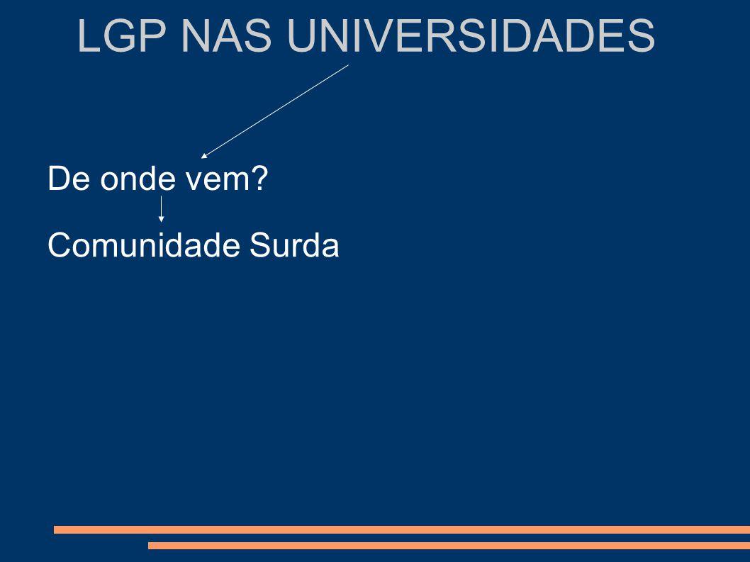 LGP NAS UNIVERSIDADES Comunidade Surda Comunidade científica Ex: Faculdade de Letras da Universidade de Lisboa Cursos de Línguas