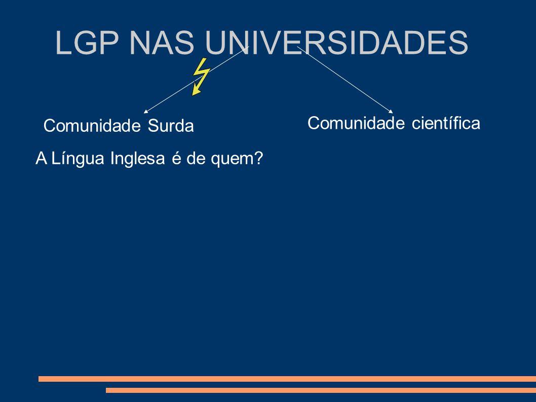 LGP NAS UNIVERSIDADES Comunidade Surda Comunidade científica A Língua Inglesa é de quem?