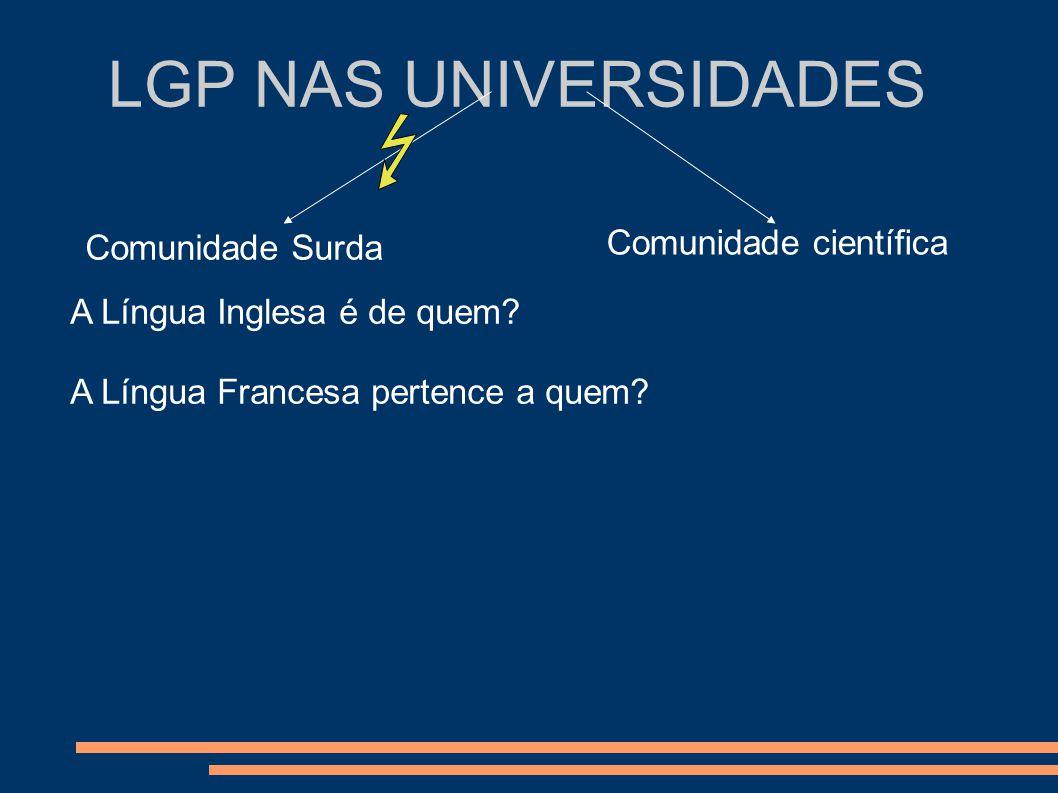 LGP NAS UNIVERSIDADES Comunidade Surda Comunidade científica A Língua Inglesa é de quem? A Língua Francesa pertence a quem?