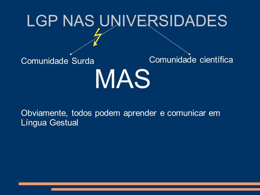 LGP NAS UNIVERSIDADES Comunidade Surda Comunidade científica MAS Obviamente, todos podem aprender e comunicar em Língua Gestual