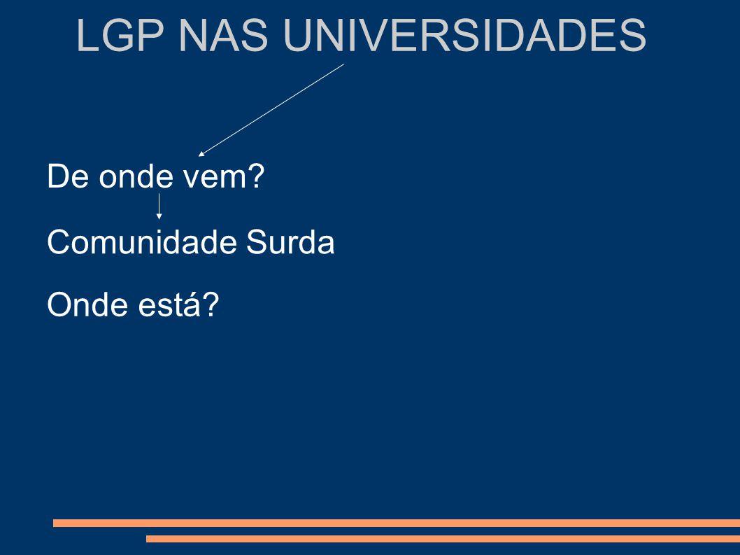 LGP NAS UNIVERSIDADES Comunidade Surda Comunidade científica Ex: Faculdade de Letras da Universidade de Lisboa Cursos de Línguas Curso de Língua e Cultura Portuguesa