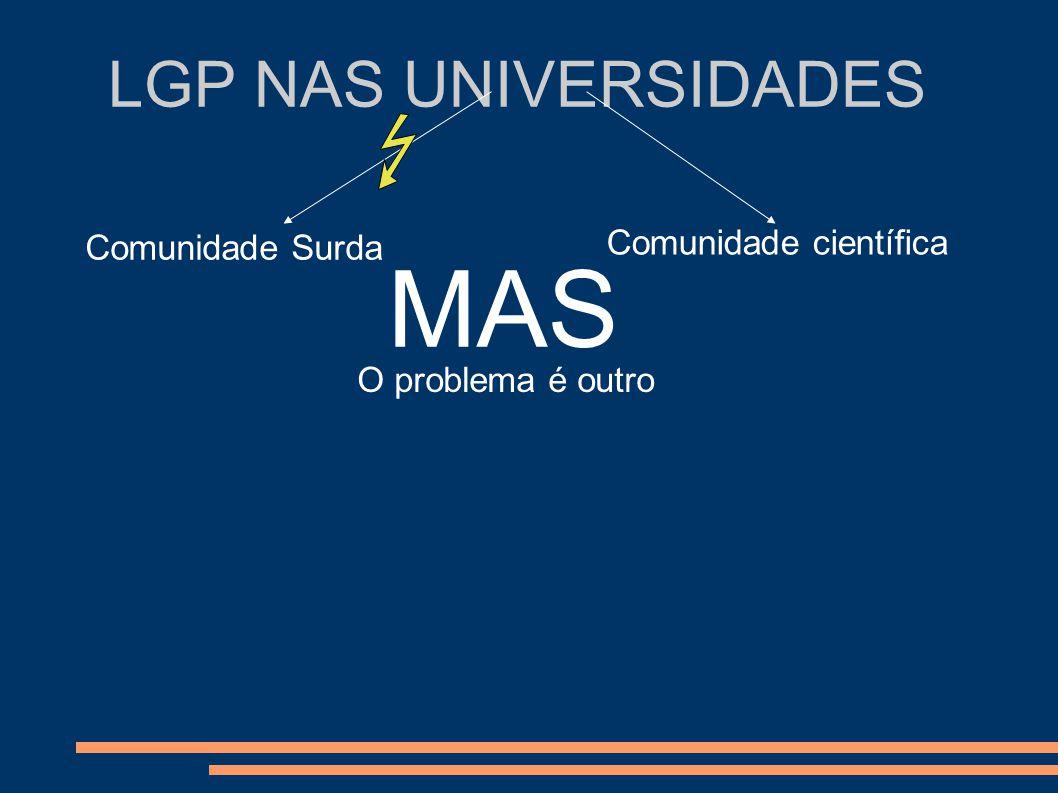 LGP NAS UNIVERSIDADES Comunidade Surda Comunidade científica MAS O problema é outro