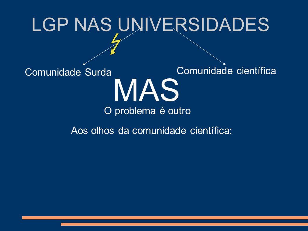 LGP NAS UNIVERSIDADES Comunidade Surda Comunidade científica MAS O problema é outro Aos olhos da comunidade científica: