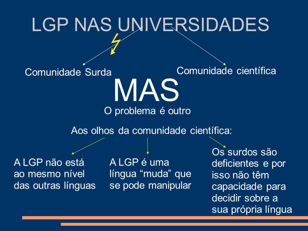 LGP NAS UNIVERSIDADES Comunidade Surda Comunidade científica MAS O problema é outro Aos olhos da comunidade científica: A LGP não está ao mesmo nível