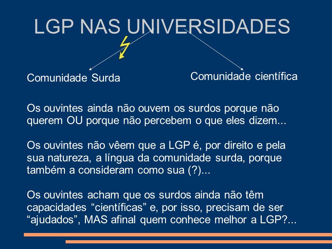 LGP NAS UNIVERSIDADES Comunidade Surda Comunidade científica Os ouvintes ainda não ouvem os surdos porque não querem OU porque não percebem o que eles