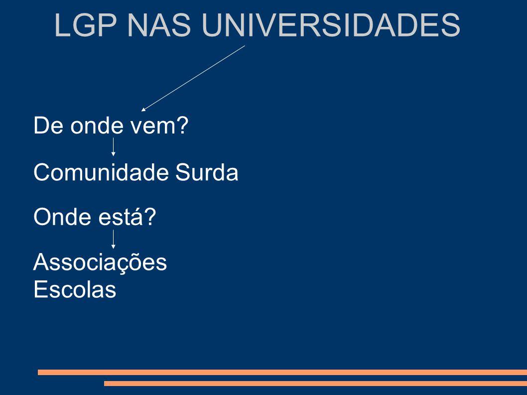LGP NAS UNIVERSIDADES Comunidade Surda Comunidade científica Pré-Requisitos Ex: Unidade de Língua Gestual Portuguesa (APS) Ex: ESECoimbra - Ser surdo - Ter 12º ano - Dominar a LGP (L1) - Perfil Psicológico