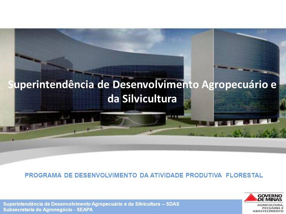 Superintendência de Desenvolvimento Agropecuário e da Silvicultura PROGRAMA DE DESENVOLVIMENTO DA ATIVIDADE PRODUTIVA FLORESTAL Superintendência de De