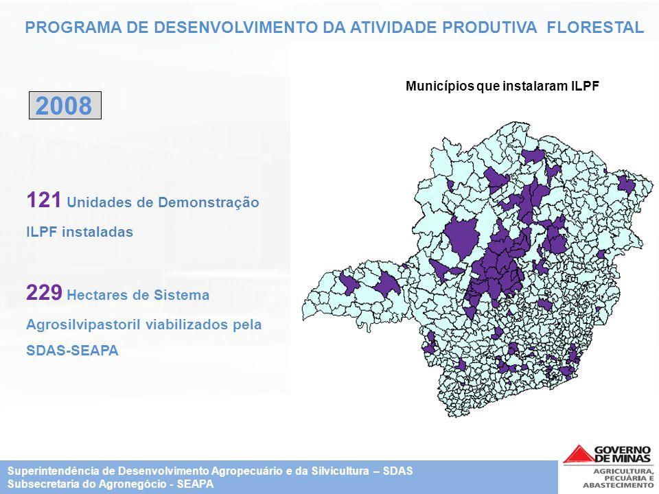 PROGRAMA DE DESENVOLVIMENTO DA ATIVIDADE PRODUTIVA FLORESTAL 121 Unidades de Demonstração ILPF instaladas 229 Hectares de Sistema Agrosilvipastoril vi