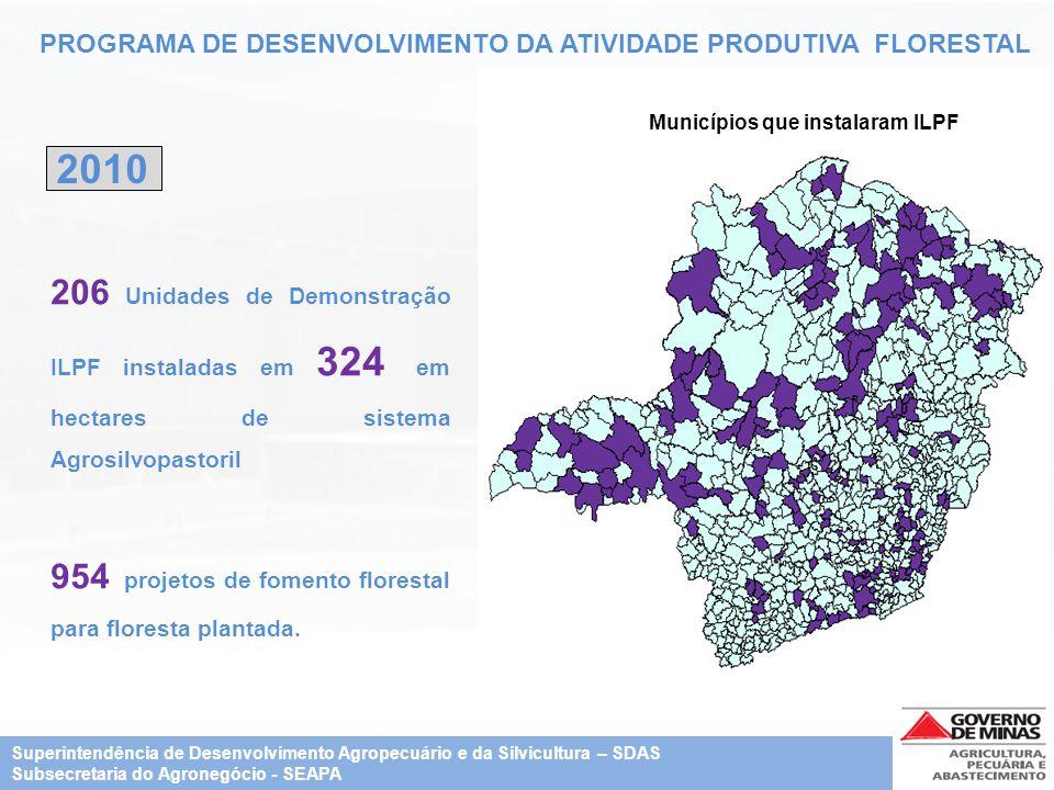 PROGRAMA DE DESENVOLVIMENTO DA ATIVIDADE PRODUTIVA FLORESTAL 2010 Municípios que instalaram ILPF 206 Unidades de Demonstração ILPF instaladas em 324 e