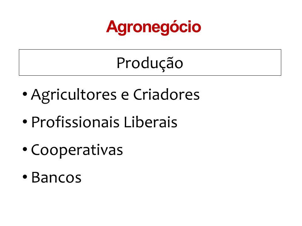 Produção Agronegócio Agricultores e Criadores Profissionais Liberais Cooperativas Bancos