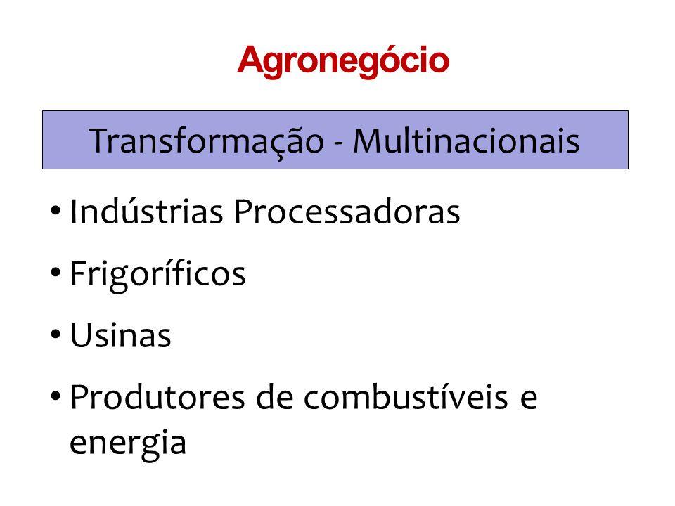 Transformação - Multinacionais Agronegócio Indústrias Processadoras Frigoríficos Usinas Produtores de combustíveis e energia