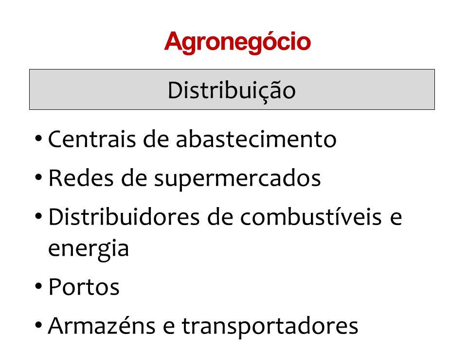 Distribuição Agronegócio Centrais de abastecimento Redes de supermercados Distribuidores de combustíveis e energia Portos Armazéns e transportadores