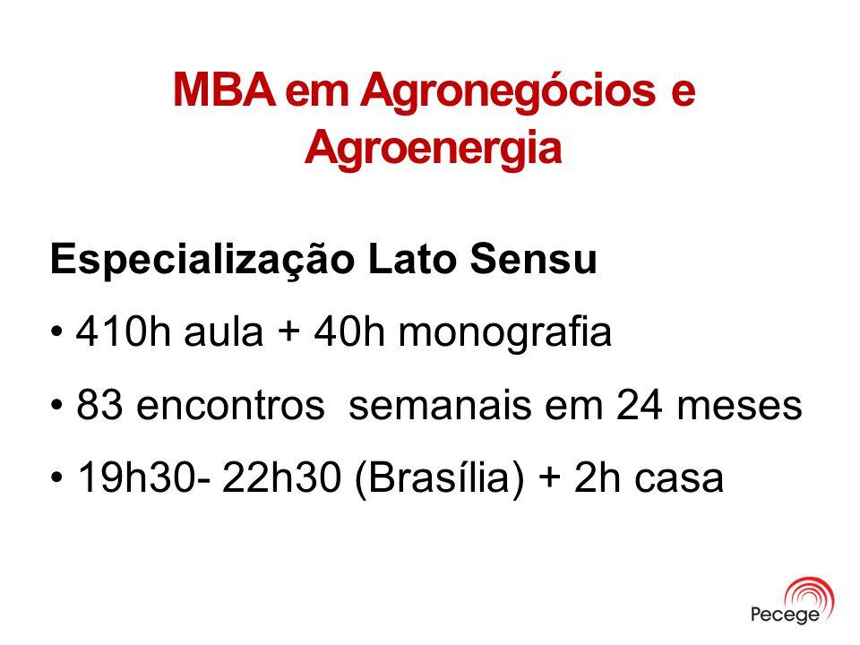MBA em Agronegócios e Agroenergia Especialização Lato Sensu 410h aula + 40h monografia 83 encontros semanais em 24 meses 19h30- 22h30 (Brasília) + 2h