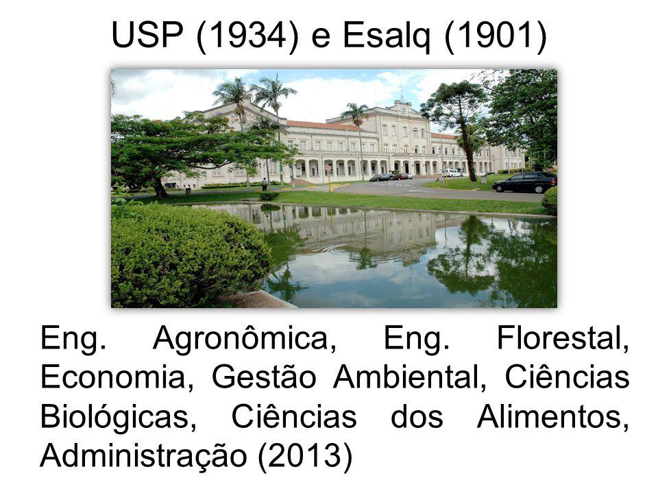 USP (1934) e Esalq (1901) Eng. Agronômica, Eng. Florestal, Economia, Gestão Ambiental, Ciências Biológicas, Ciências dos Alimentos, Administração (201