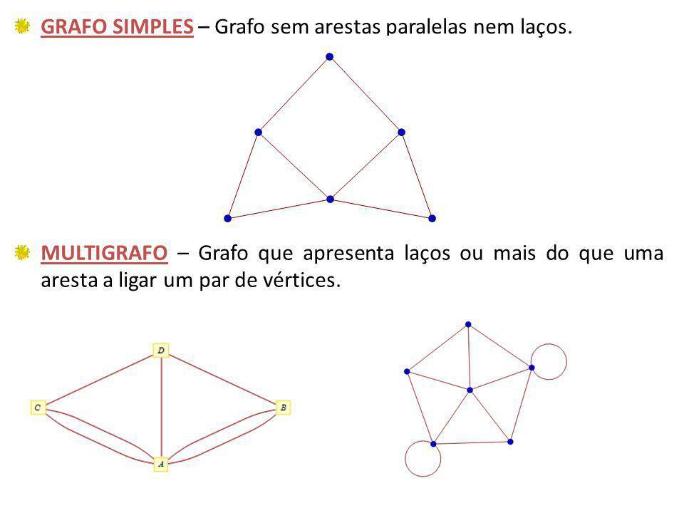 GRAFO SIMPLES – Grafo sem arestas paralelas nem laços. MULTIGRAFO – Grafo que apresenta laços ou mais do que uma aresta a ligar um par de vértices.