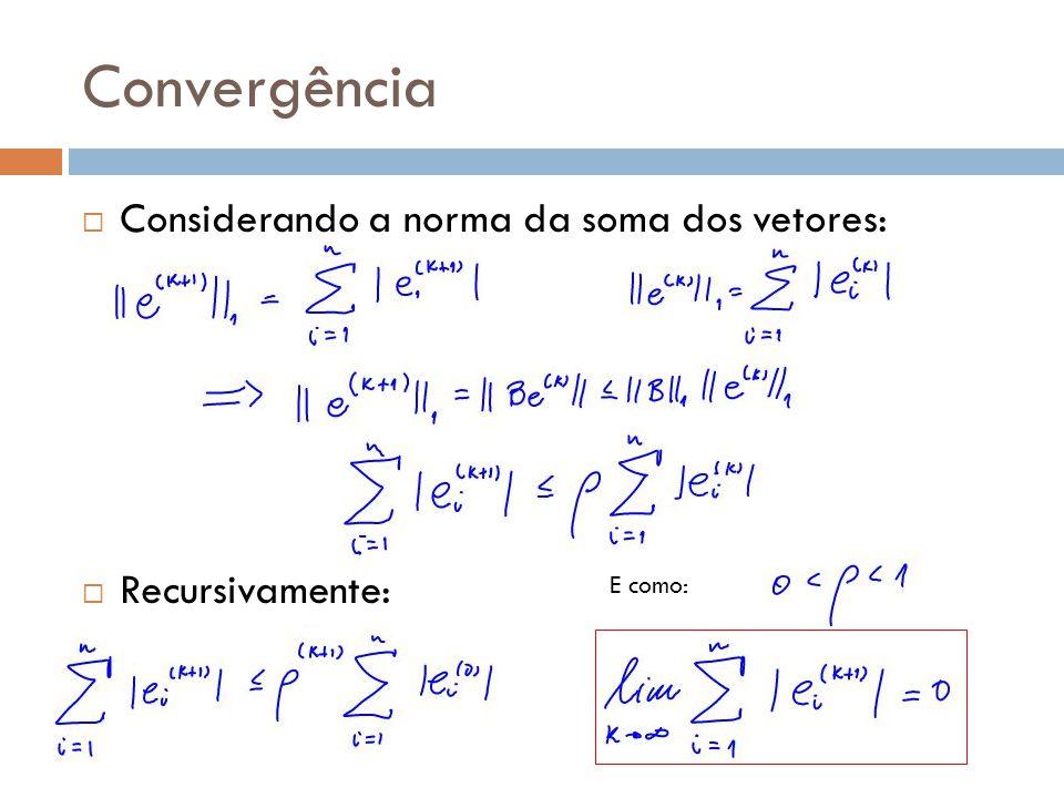 Convergência Considerando a norma da soma dos vetores: Recursivamente: E como: