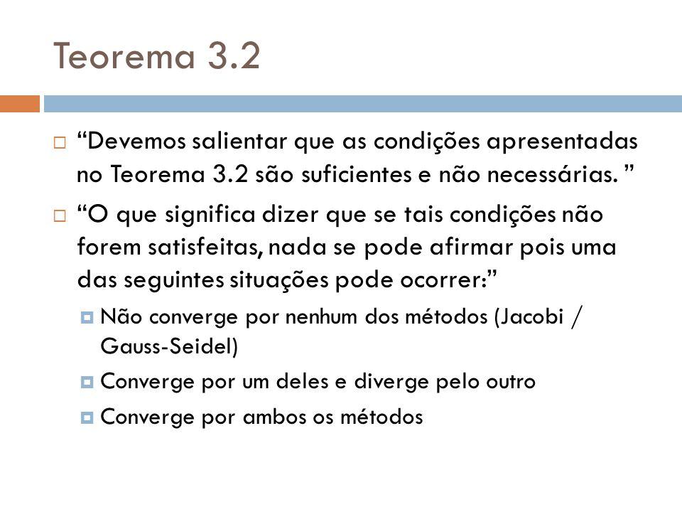 Teorema 3.2 Devemos salientar que as condições apresentadas no Teorema 3.2 são suficientes e não necessárias. O que significa dizer que se tais condiç