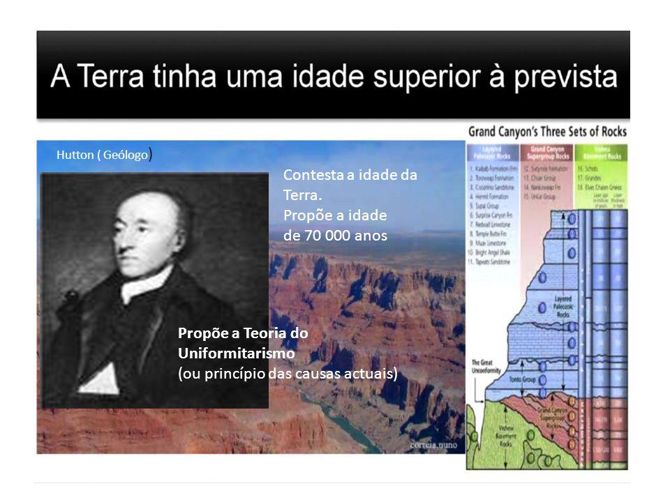 Hutton ( Geólogo ) Contesta a idade da Terra. Propõe a idade de 70 000 anos Propõe a Teoria do Uniformitarismo (ou princípio das causas actuais)