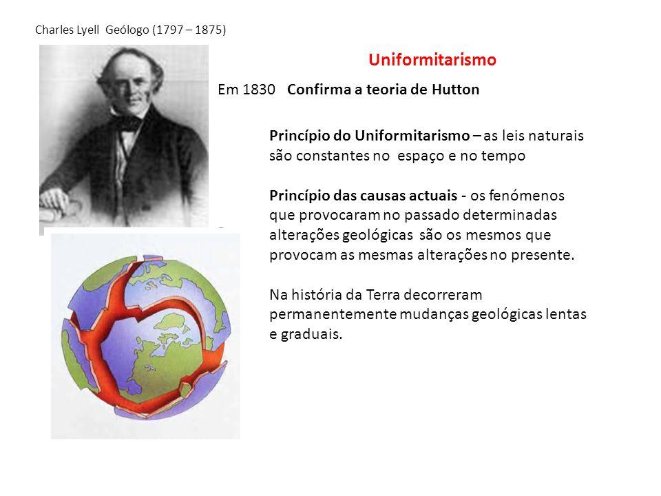 Em 1830 Confirma a teoria de Hutton Princípio do Uniformitarismo – as leis naturais são constantes no espaço e no tempo Princípio das causas actuais -