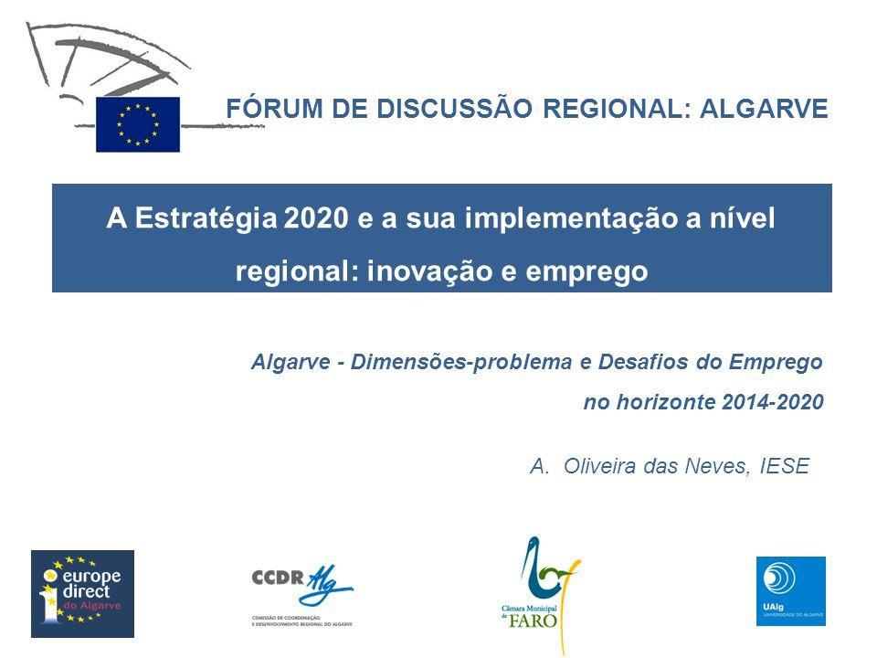 FÓRUM DE DISCUSSÃO REGIONAL: ALGARVE A Estratégia 2020 e a sua implementação a nível regional: inovação e emprego A.Oliveira das Neves, IESE Algarve -