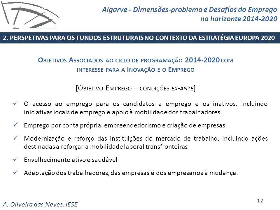 A. Oliveira das Neves, IESE O acesso ao emprego para os candidatos a emprego e os inativos, incluindo iniciativas locais de emprego e apoio à mobilida