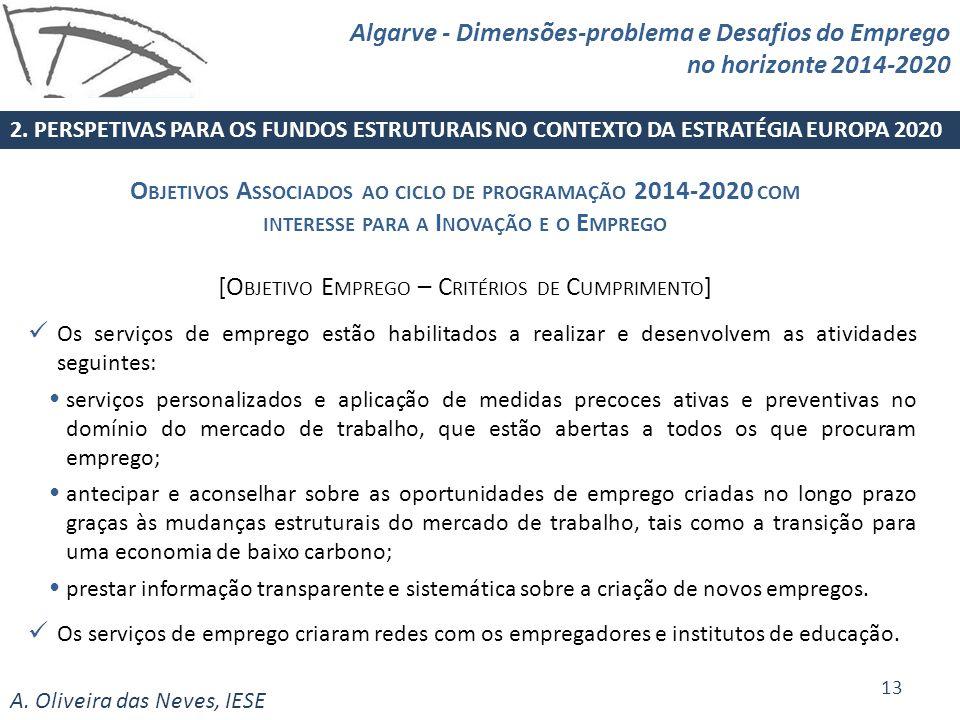 A. Oliveira das Neves, IESE Os serviços de emprego estão habilitados a realizar e desenvolvem as atividades seguintes: serviços personalizados e aplic