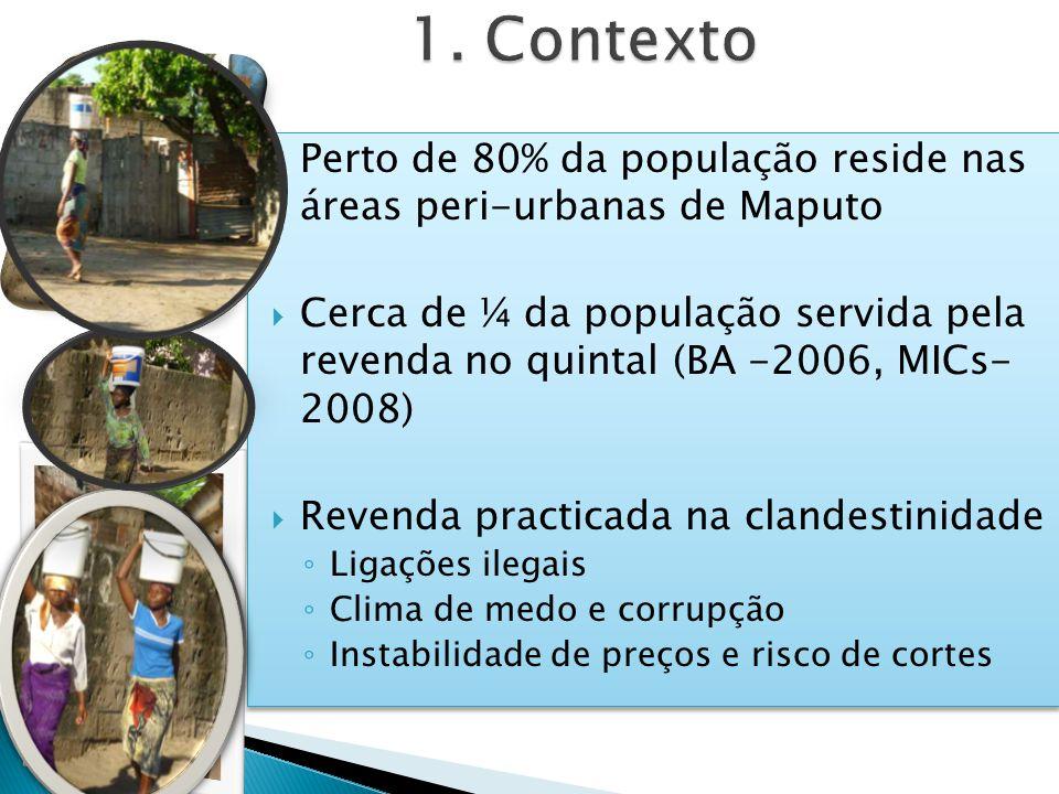 Perto de 80% da população reside nas áreas peri-urbanas de Maputo Cerca de ¼ da população servida pela revenda no quintal (BA -2006, MICs- 2008) Revenda practicada na clandestinidade Ligações ilegais Clima de medo e corrupção Instabilidade de preços e risco de cortes Perto de 80% da população reside nas áreas peri-urbanas de Maputo Cerca de ¼ da população servida pela revenda no quintal (BA -2006, MICs- 2008) Revenda practicada na clandestinidade Ligações ilegais Clima de medo e corrupção Instabilidade de preços e risco de cortes