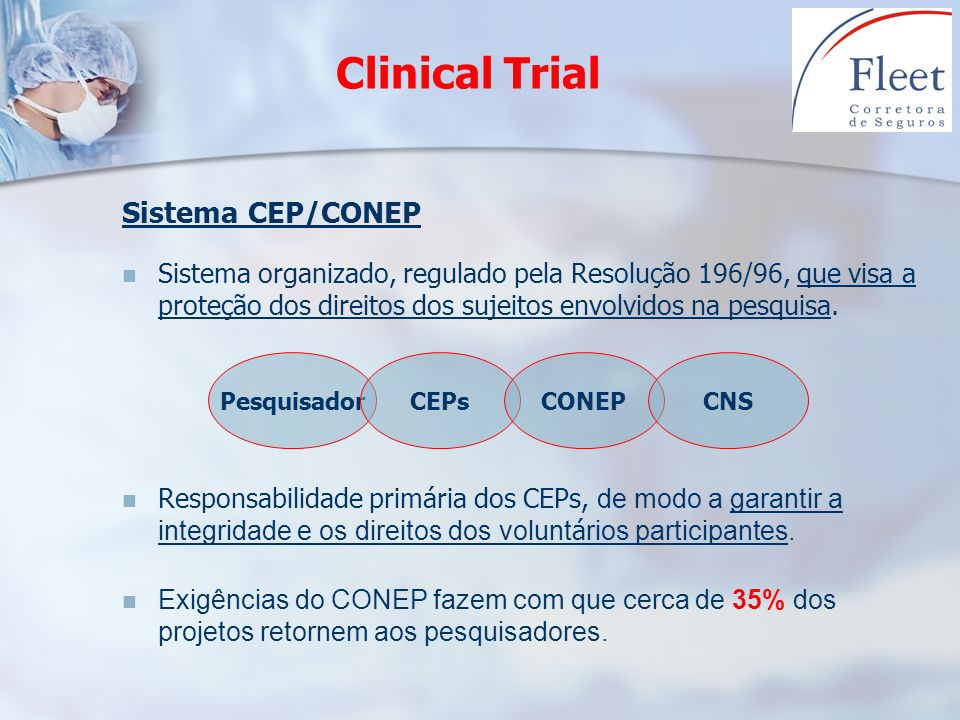 Clinical Trial Sistema CEP/CONEP Sistema organizado, regulado pela Resolução 196/96, que visa a proteção dos direitos dos sujeitos envolvidos na pesqu
