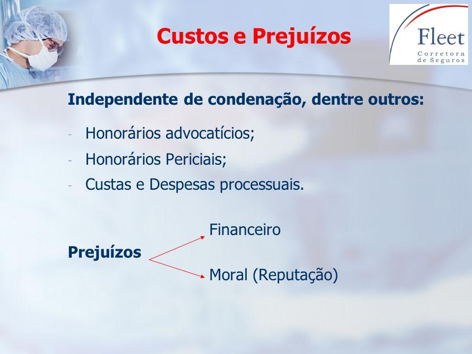 Custos e Prejuízos Independente de condenação, dentre outros: - - Honorários advocatícios; - - Honorários Periciais; - - Custas e Despesas processuais
