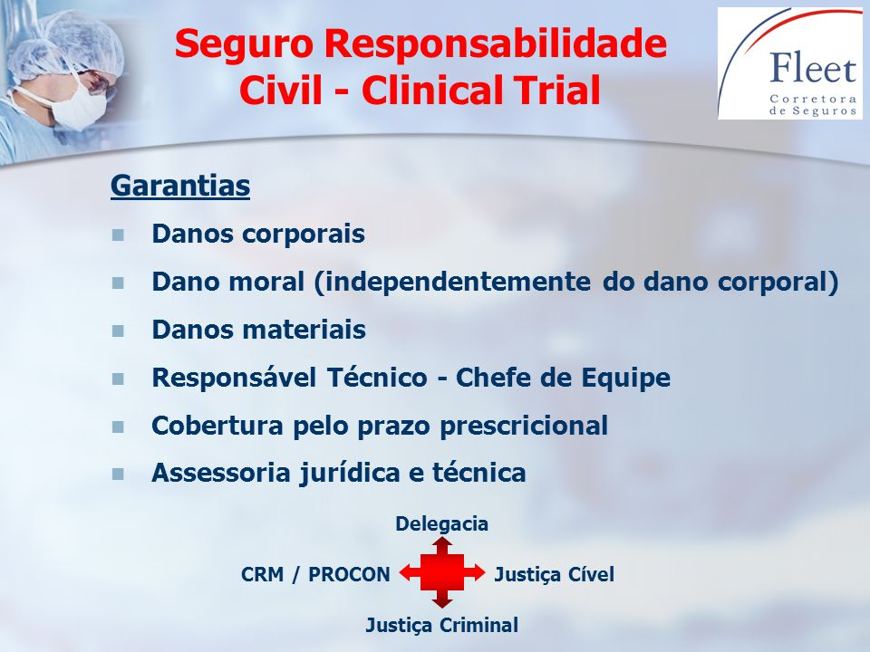 Garantias Danos corporais Dano moral (independentemente do dano corporal) Danos materiais Responsável Técnico - Chefe de Equipe Cobertura pelo prazo p