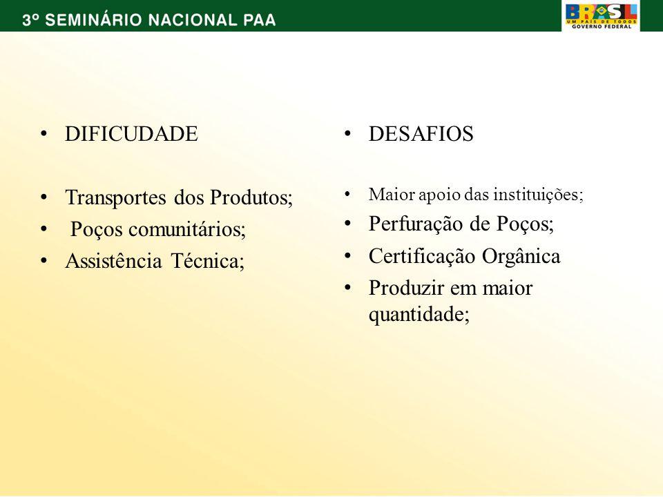 DIFICUDADE Transportes dos Produtos; Poços comunitários; Assistência Técnica; DESAFIOS Maior apoio das instituições; Perfuração de Poços; Certificação Orgânica Produzir em maior quantidade;