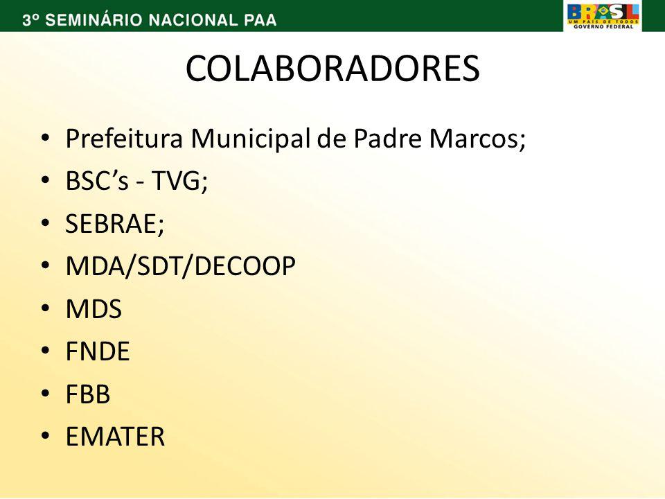 COLABORADORES Prefeitura Municipal de Padre Marcos; BSCs - TVG; SEBRAE; MDA/SDT/DECOOP MDS FNDE FBB EMATER