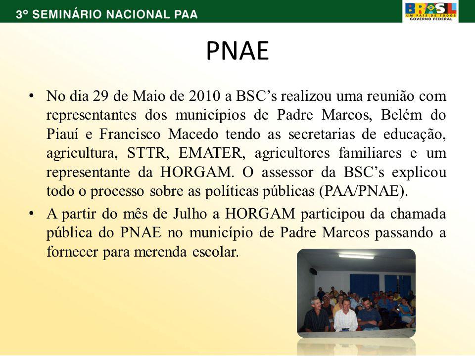PNAE No dia 29 de Maio de 2010 a BSCs realizou uma reunião com representantes dos municípios de Padre Marcos, Belém do Piauí e Francisco Macedo tendo as secretarias de educação, agricultura, STTR, EMATER, agricultores familiares e um representante da HORGAM.