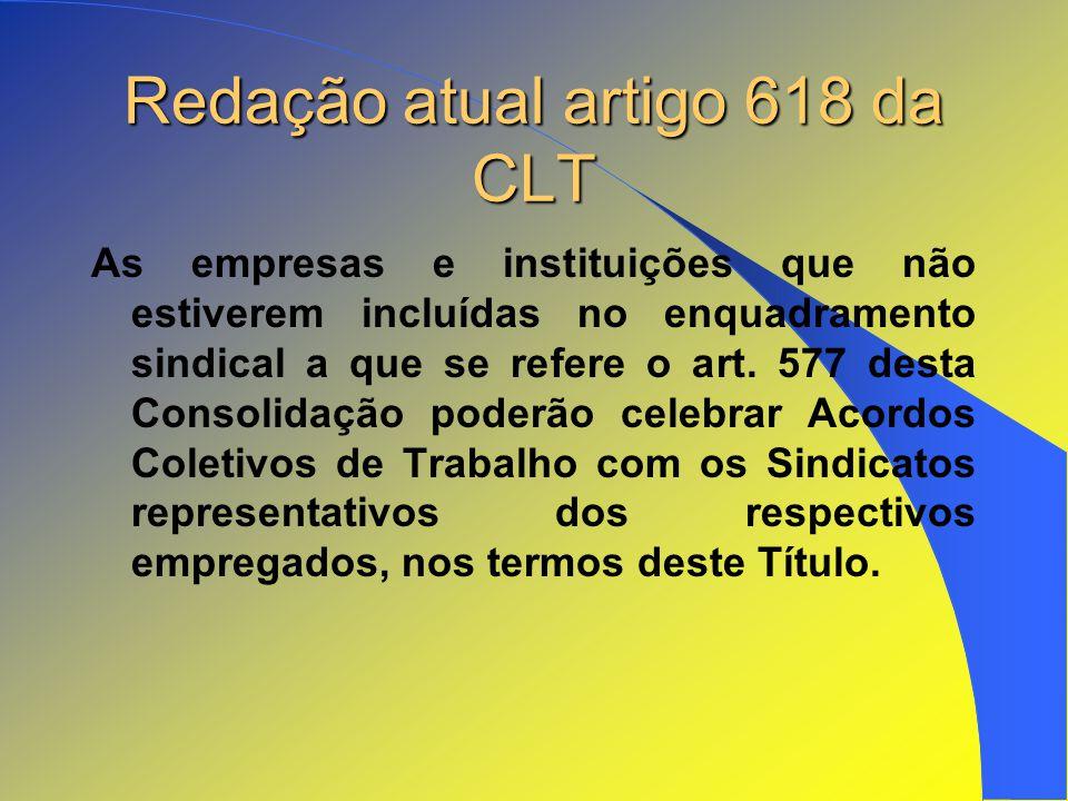 Redação atual artigo 618 da CLT As empresas e instituições que não estiverem incluídas no enquadramento sindical a que se refere o art. 577 desta Cons