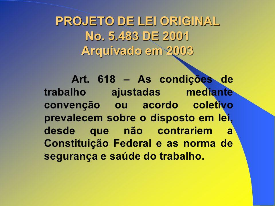 PROJETO DE LEI ORIGINAL No. 5.483 DE 2001 Arquivado em 2003 Art. 618 – As condições de trabalho ajustadas mediante convenção ou acordo coletivo preval